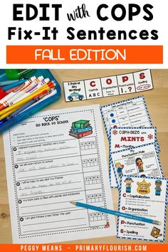 Are you tired of 'nagging' your students to edit their own writing? These COPS Fix It sentences are the answer! Students get extra practice reading, editing and rewriting the Fall-themed 5 sentence stories. Edit Writing with COPS is an engaging, effective way for students to remember how to edit their own writing! These engaging NO-PREP, Fall-themed, COPS Fix It sentences are a practical, no prep way for your students to practice essential editing skills. Editing Skills, Editing Writing, Writing Lessons, Writing Process, Writing Resources, Writing Activities, Learning Resources, Classroom Activities, Teaching Paragraphs