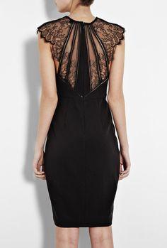 Catherine Deane Larue Lace Shoulder Dress in Black