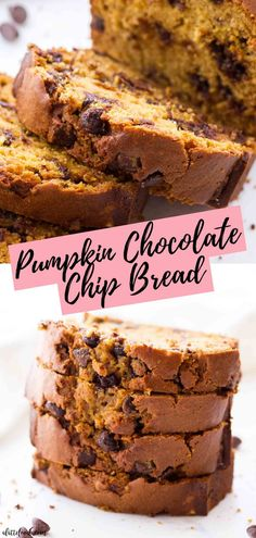This easy Chocolate Chip Pumpkin Bread recipe is made in one bowl and comes together so quickly! It's a moist pumpkin br. Moist Pumpkin Bread, Pumpkin Coffee Cakes, Pumpkin Chocolate Chip Bread, Chocolate Chip Recipes, Pumpkin Dessert, Pumpkin Puree, Cheese Pumpkin, Healthy Pumpkin, Chocolate Bowls