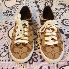 competitive price 159a1 4b46d Coach Shoes   Coach Lesley Logo Brown Tennis Shoes Sneakers   Color   Brown Tan   Size  7