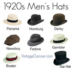 1920s men's hats at vintagedancer.com  Panama, homburg, derby or bowler, newsboy, fedora, gambler, boater and top hat.
