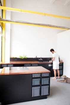 Berlin Studio Kitchen is a minimalist interior located in Berlin, Germany, designed by 45KILO. The Berlin Studio Kitchen is an economic concept for a functional kitchen that combines an industrial look with the natural beauty and vividness of untreated copper. (3)