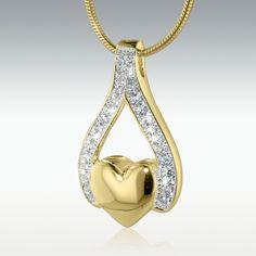 Wishbone Heart 14k Gold Vermeil Cremation Jewelry - Engravable