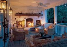 Deep covered porch. Love the fireplace. Where would the grill area go?