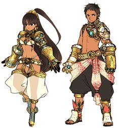 armor belt boots brown_eyes brown_hair dark_skin gauntlets genderswap long_hair short_hair tattoo tonkotsu_ramen