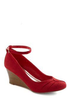 Beets Me Wedge - Red, Pleats, Mid, Wedge, Buckles, Party, Casual, Vintage Inspired, Holiday Party, Faux Leather