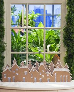 Cardboard Christmas Village - Martha Stewart - Under The Table and Dreaming: 50 Simple Holiday Decor Ideas {Easy Christmas Decorating} Saturday Inspiration and Ideas Noel Christmas, Simple Christmas, Christmas Projects, Holiday Crafts, Holiday Decor, Gingerbread Village, Homemade Christmas Decorations, Glitter Houses, Christmas Templates