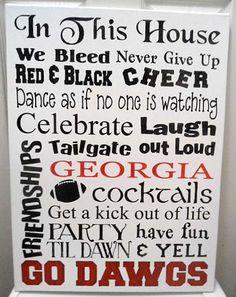 Georgia Bulldogs 18 x 24 Typography Canvas Georgia Girls, Georgia On My Mind, Georgia Bulldogs Football, University Of Georgia, Down South, Fun Facts, Typography, House, Sayings