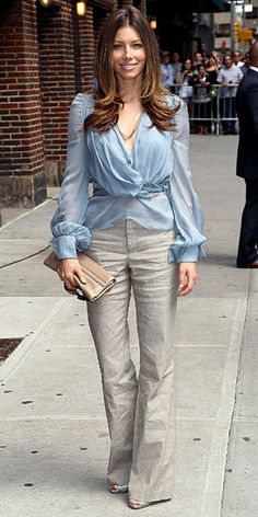 Jessica Biel    WHAT SHE WORE    Biel stopped by the N.Y.C. studios of The Late Show with David Letterman in taupe wide-leg trousers and a pale blue draped blouse; she finished the look with a beige clutch and brocade peep-toes