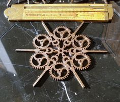 Steampunk Ornaments Snowflakes Bronze Finish by EtchedinTimeLLC