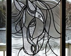 Stained Glass Horse Panel/Clear Textured with Barn Board Frame #StainedGlassHorse