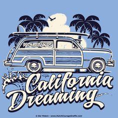 """""""California Dreaming"""" T-shirt #Ford #shoebox #woody #surf #Tshirt #artwork"""