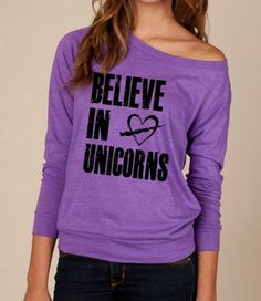 Believe In UNICORNS Heathered Slouchy Pullover long sleeve Girls Ladies shirt sweatshirt silkscreen screenprint Alternative Apparel
