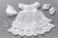 Free Crochet Baby Bunting Patterns | Crochet pattern for christening dress. Free patterns.