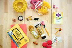 i art u: mustard and deep carmine pink