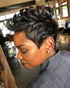 Short Hair & Fingerwaves on Black Women kurze Haare Fingerwellen Treatments that offer hope to hair Short Hairstyles For Thick Hair, Curly Hair Styles, Cool Hairstyles, Natural Hair Styles, Pixie Styles, Short Styles, Short Sassy Hair, Short Hair Cuts, Pixie Cuts