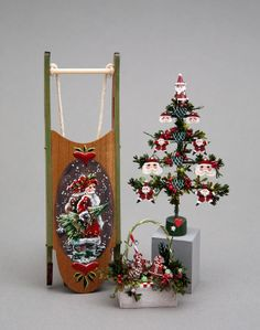 good sam showcase of miniatures at the show holiday decor toys sled wood santa christmas tree and a basket with gingerbread cookies - Christmas Miniatures