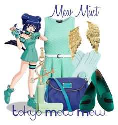 """Mew Mint (Mint Aizawa), from Tokyo Mew Mew--REVISITED"" by blackrabbitmegapig ❤ liked on Polyvore featuring Club L, Bernard Delettrez, Links of London, Marc by Marc Jacobs, BC Footwear and Eos"