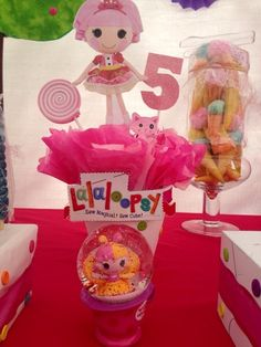 Such a cute centerpiece at a Lalaloopsy birthday party!  See more party ideas at CatchMyParty.com!