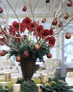 Lose the flowers and pears, add angels and angel wing ornaments, and have several feathers sprinkled underneath for centerpieces... candles, angel framed sayings, and maybe a small angel statue on either side.  Centerpiece.