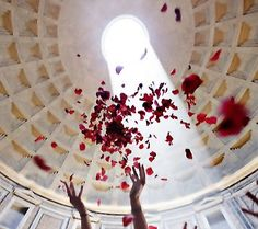 In Rome on Pentecost Sunday...Go and see the magical appearance of fluttering rose petals coming down from the aperture of the Pantheon. It is beautiful and spectacular in every way!