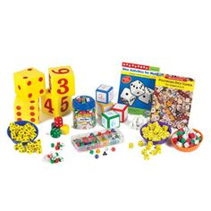 """Kit includes:  • 36 3/4"""" QuietShape® Foam Dot Dice  • 36 3/4"""" Fraction Dice  • 36 5/8"""" Blank Dice  • 36 5/8"""" blank dice with labels  • 36 3/4"""" yellow QuietShape® Foam Number Dice  • 4 1-5/8"""" QuietShape® Foam Dot Dice  • 36 3/4"""" yellow QuietShape® Foam Dot Dice  • 2 Giant Foam Dot Dice  • 2 Giant Foam Number Dice  • 144 red/green/white Dot Dice  • 105 assorted Polyhedra Dice (35 20-sided dice; 10 12-sided dice; 30 10-sided dice; 10 8-sided dice; 10 6-sided dice; 10 4-sided dice)  • 4 3""""…"""