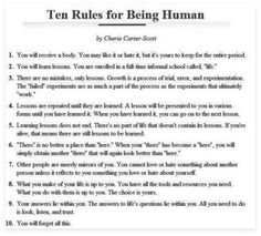 The 10 rules for being human