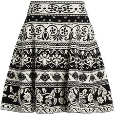 Alexander McQueen Floral-jacquard knit skirt ($948) ❤ liked on Polyvore featuring skirts, saias, black multi, circle skirts, floral flare skirt, flared skirts, patterned skater skirt and striped skater skirt