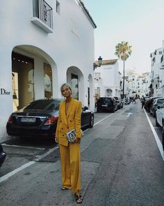 yellow pantsuit