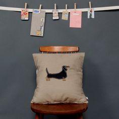 dachshund - embroidered cushion