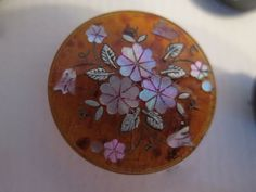Antique Inlay Button, Silver & MOP Floral in Red Horn