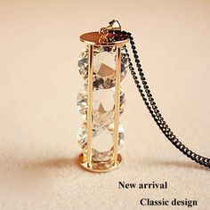 Super shine crystal cylindrical long necklace love hourglass sweater chain all-match ladies' accessories Free shipping NE67069
