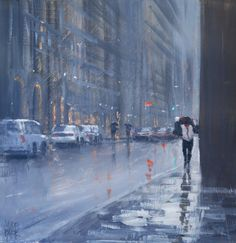 Mike Barr - Caught in the rain acrylic on board