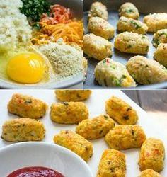 BOLINHOS DE COUVE-FLOR  Super dica para o jantar, ou até lanche, é mega saudável e bem fácil de fazer. Hoje ainda postarei uma sobremesa mega deliciosa,aguardem!  Segue a receita #INGREDIENTES: 2 (xic)de couve-flor (cozido e picado) 1/2(xic)de cebola ralada 1/2(xic)de cenoura ralada 1/2(xic)de queijo minas frescal ralado 1/3(xic)de farelo de aveia Salsa(a gosto) Temperos (sem sódio) 1 ovo  #MODO DE PREPARO:  Em uma vasilha adicione o ovo e os demais ingredientes, misture b...