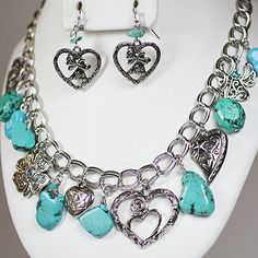 Cowgirl Bling Ranch, LLC - Angels Hearts and Stone Necklace and Earring set $11.99