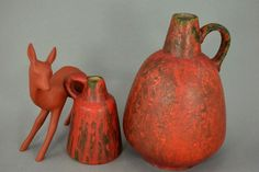 Vintage Vasen-Set (2 Stück) / Ruscha / Dekor Vulcsno   West Germany   WGP   60er von ShabbRockRepublic auf Etsy