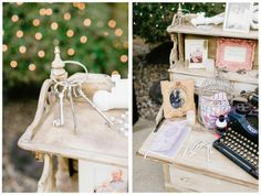Family photo display at the reception with vintage touches. Secret Garden themed real Michigan wedding.  Image by Pasha Belman // www.pashabelman.com