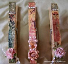 Ladies Diary Clothespins by ladybugtwin - Cards and Paper Crafts at Splitcoaststampers frenchy clothespins for baby shower Craft Stick Crafts, Craft Gifts, Paper Crafts, Craft Sticks, Craft Ideas, Clothes Pegs, Clothes Crafts, Trombone, Clothespin Art
