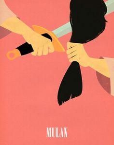 Disney minimalist poster, mulan, disney, minimalist poster