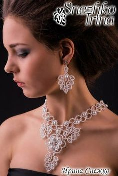 Discover thousands of images about Photo Tatting Necklace, Tatting Jewelry, Lace Necklace, Lace Jewelry, Tatting Lace, Bead Jewellery, Fabric Jewelry, Jewelry Crafts, Wedding Jewelry