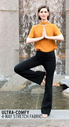 f08b7b5ad3 Boot-Cut | Black Travel Yoga Pants Yoga Pants Outfit, Yoga Leggings, Dress