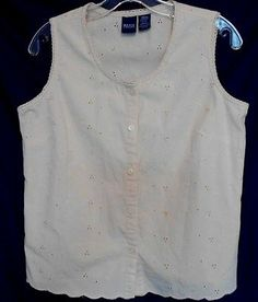 Basic Editions Beige Eyelet Fabric Top Size Med. Scoop Neck Button Front Cotton