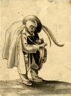 A man wearing a cloak, leaning forward and playing a hurdy-gurdy; lifted from an album of miscellaneous drawings Pen and brown ink with brown wash, anonymous, 17th Century