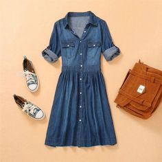 Fashion Women's Summer Retro 3/4 Sleeve Slim Fit Denim Shoirt Jeans Dress S-4Xl