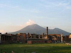 Pompeii Tourism: 79 Things to Do in Pompeii, Italy.  Mt. Vesuvius in background.