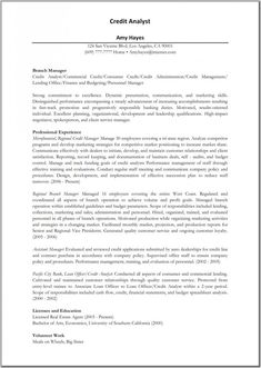 Credit Analyst Resume Template Pinterest