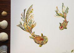 Fantail Goldfish Pair made from pressed Fern 8 by HelenAhpornsiri