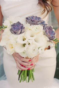 Bridal Bouquet with Purple Succulents