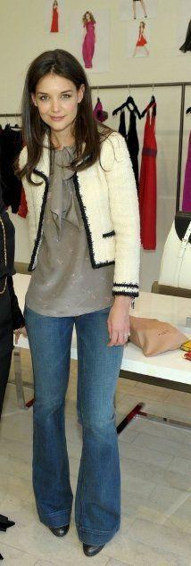 chaqueta de tweed pantalón ancho