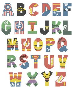 BOGO FREE! Superheroes Marvel ALPHABET Cross Stitch Pattern - pdf pattern instant download #101